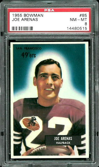 1955 Bowman #85 - Joe Arenas - PSA 8