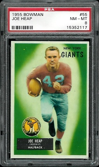 1955 Bowman #55 - Joe Heap - PSA 8