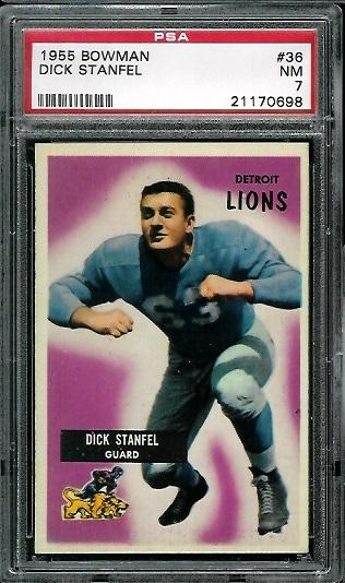 1955 Bowman #36 - Dick Stanfel - PSA 7