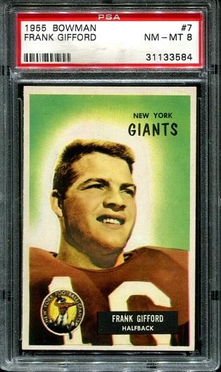 1955 Bowman #7 - Frank Gifford - PSA 8