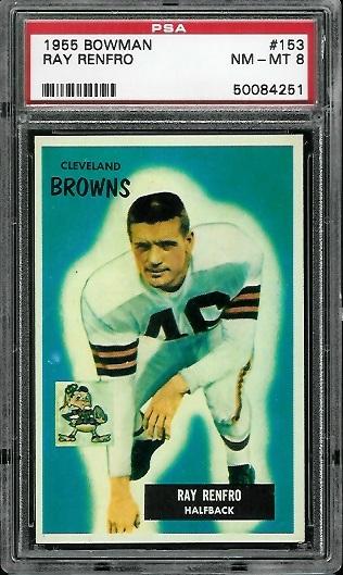 1955 Bowman #153 - Ray Renfro - PSA 8
