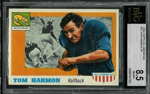 1955 Topps All-American #35 - Tom Harmon - BVG 8.5