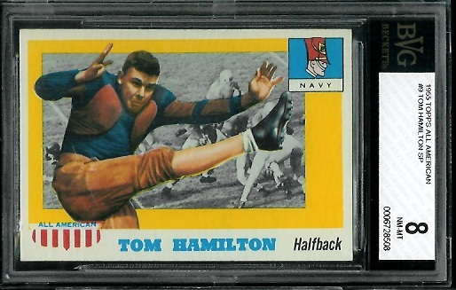 1955 Topps All-American #9 - Tom Hamilton - BVG 8