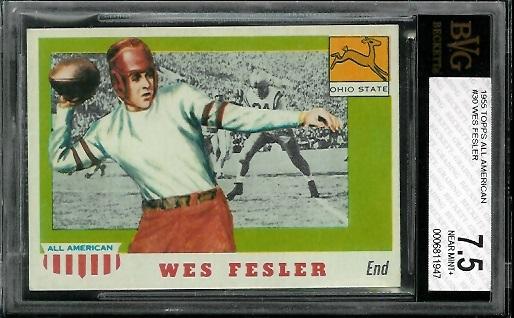 1955 Topps All-American #30 - Wes Fesler - BVG 7.5