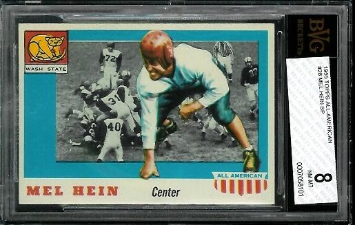 1955 Topps All-American #28 - Mel Hein - BVG 8