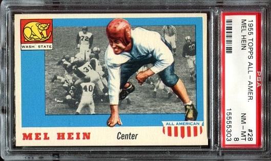 1955 Topps All-American #28 - Mel Hein - PSA 8
