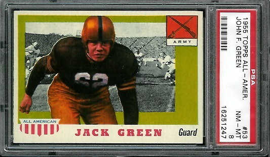 1955 Topps All-American #53 - Jack Green - PSA 8