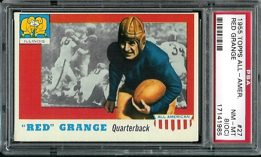 1955 Topps All-American #27 - Red Grange - PSA 8 oc