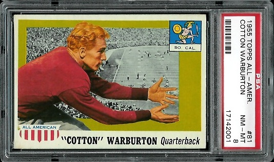 1955 Topps All-American #81 - Cotton Warburton - PSA 8