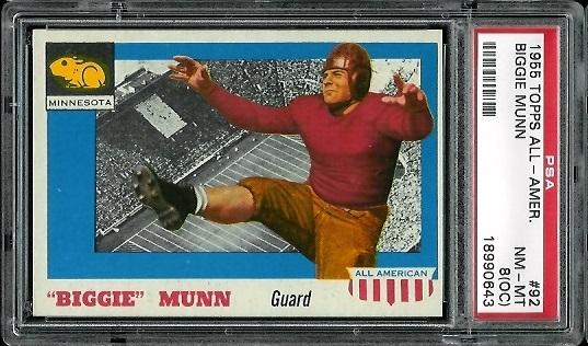 1955 Topps All-American #92 - Biggie Munn - PSA 8 oc