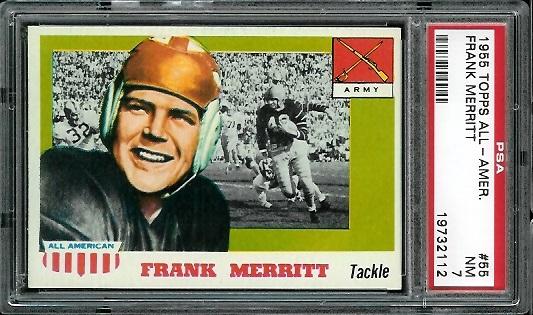1955 Topps All-American #55 - Frank Merritt - PSA 7
