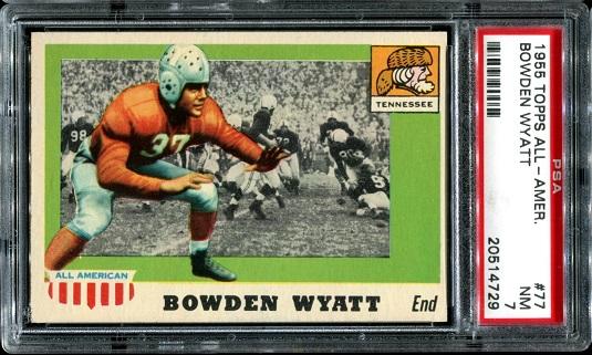 1955 Topps All-American #77 - Bowden Wyatt - PSA 7