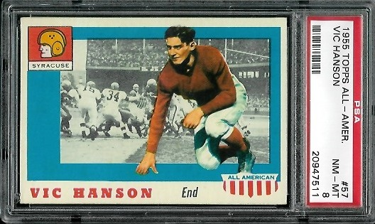 1955 Topps All-American #57 - Vic Hanson - PSA 8