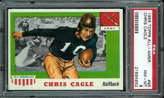 1955 Topps All-American #95 - Chris Cagle - PSA 8