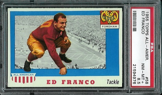 1955 Topps All-American #58 - Ed Franco - PSA 8.5