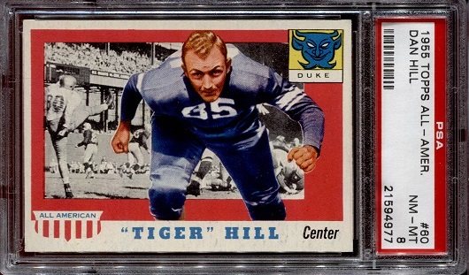 1955 Topps All-American #60 - Tiger Hill - PSA 8