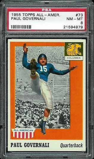 1955 Topps All-American #73 - Paul Governali - PSA 8