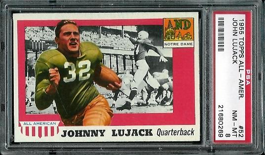 1955 Topps All-American #52 - John Lujack - PSA 8