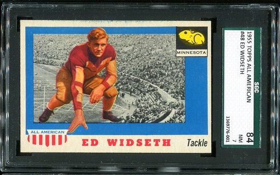 1955 Topps All-American #48 - Ed Widseth - SGC 84
