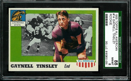 1955 Topps All-American #14cor - Gaynell Tinsley - SGC 88