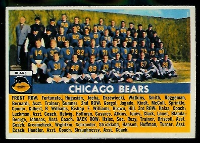 1956 Topps #119 - Chicago Bears Team - exmt