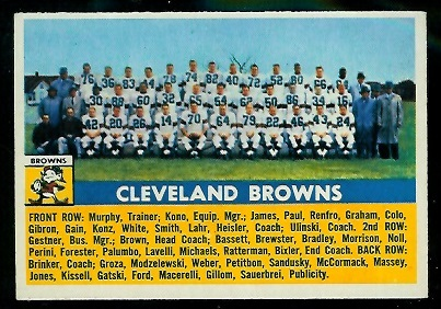 1956 Topps #45 - Cleveland Browns Team - exmt