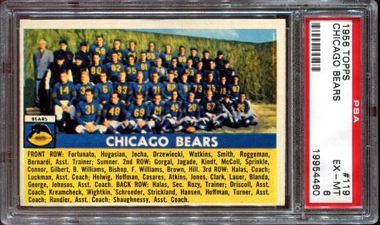 1956 Topps #119 - Chicago Bears Team - PSA 6