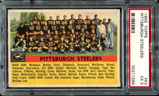 1956 Topps #63 - Pittsburgh Steelers Team - PSA 5