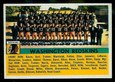 1956 Topps #61 - Washington Redskins Team - ex+