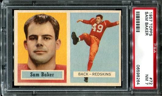1957 Topps #72 - Sam Baker - PSA 7