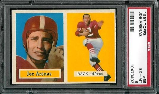 1957 Topps #66 - Joe Arenas - PSA 6