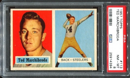 1957 Topps #113 - Ted Marchibroda - PSA 8