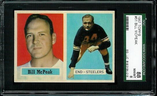 1957 Topps #51 - Bill McPeak - SGC 88