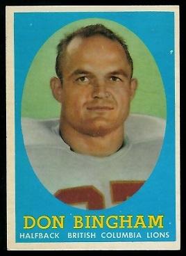 1958 Topps CFL #13 - Don Bingham - exmt