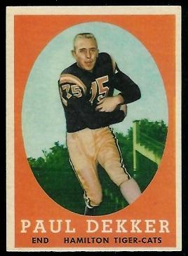 1958 Topps CFL #20 - Paul Dekker - exmt