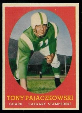 1958 Topps CFL #25 - Tony Pajaczkowski - nm+