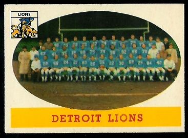 1958 Topps #115 - Detroit Lions Team - exmt