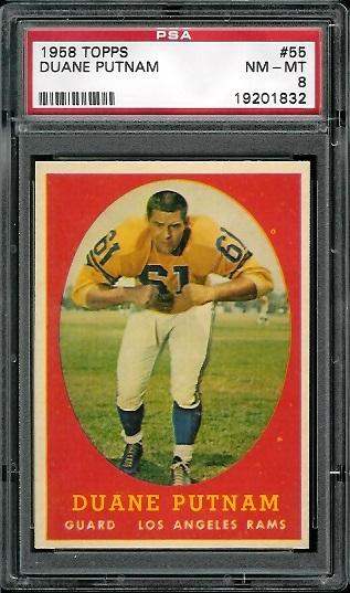 1958 Topps #55 - Duane Putnam - PSA 8