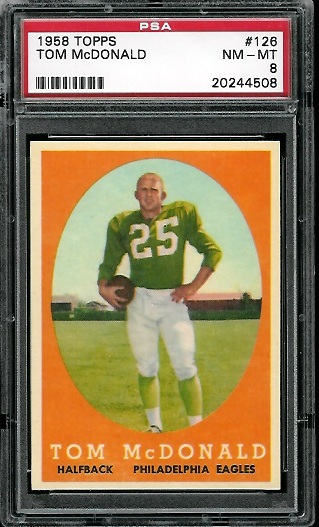 1958 Topps #126 - Tommy McDonald - PSA 8