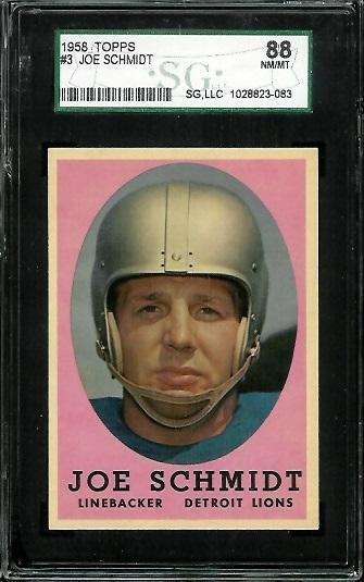 1958 Topps #3 - Joe Schmidt - SGC 88