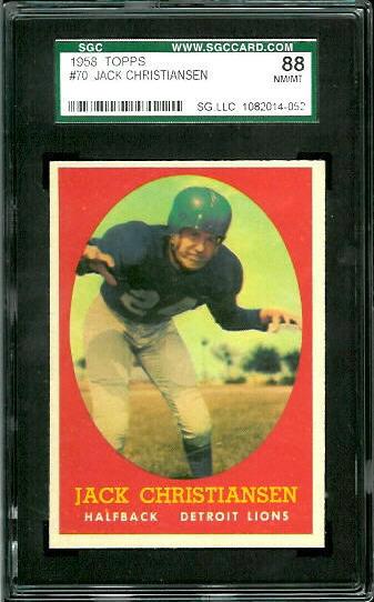 1958 Topps #70 - Jack Christiansen - SGC 88