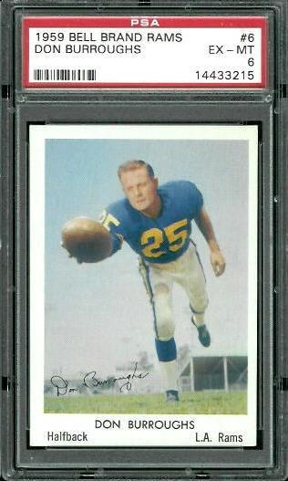 1959 Bell Brand Rams #6 - Don Burroughs - PSA 6