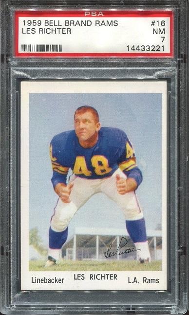 1959 Bell Brand Rams #16 - Les Richter - PSA 7