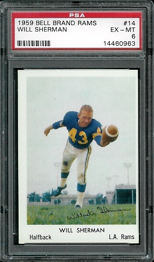 1959 Bell Brand Rams #14 - Will Sherman - PSA 6