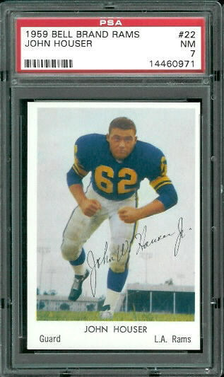 1959 Bell Brand Rams #22 - John Houser - PSA 7