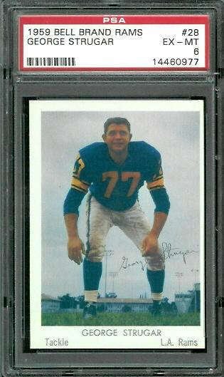 1959 Bell Brand Rams #28 - George Strugar - PSA 6