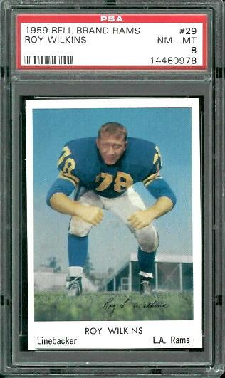 1959 Bell Brand Rams #29 - Roy Wilkins - PSA 8