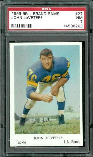 1959 Bell Brand Rams #27 - John LoVetere - PSA 7