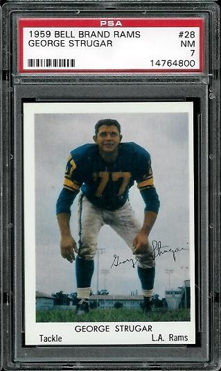 1959 Bell Brand Rams #28 - George Strugar - PSA 7