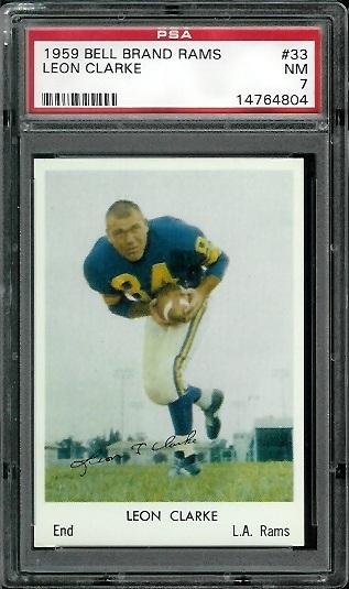 1959 Bell Brand Rams #33 - Leon Clarke - PSA 7